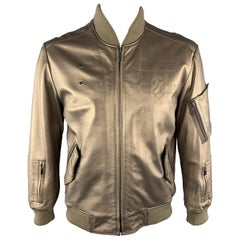 KENNETH COLE 42 Gold Metallic Leather Zip Up Vintage Bomber Style Jacket