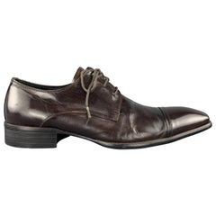 KENNETH COLE Size 8 Dark Brown Leather Squared Toe Lace Up