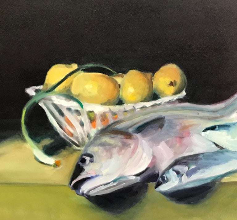 Fish on Yellow Table with Lemons & Scallion - Still Life w Spottail Bass - Contemporary Painting by Kenneth Hanger