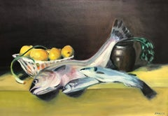Fish on Yellow Table with Lemons & Scallion - Still Life w Spottail Bass