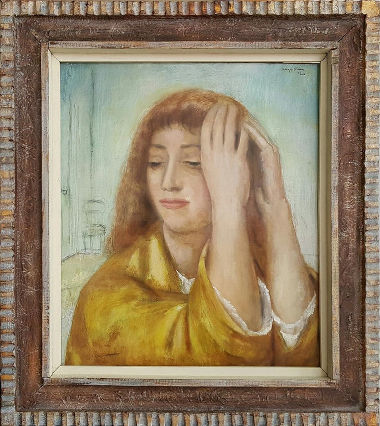 Kenneth Hayes Miller Figurative Painting - Portrait of a Woman lost in Thought