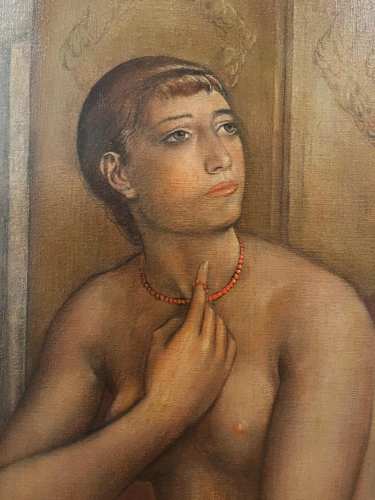 The Coral Necklace  Figure Composition - ( Nude fantasizing in a chair )  - Brown Nude Painting by Kenneth Hayes Miller