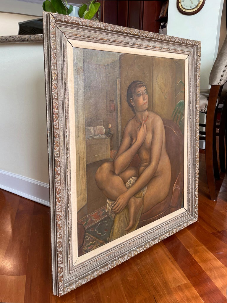 The Coral Necklace  Figure Composition - ( Nude fantasizing in a chair )  - Painting by Kenneth Hayes Miller