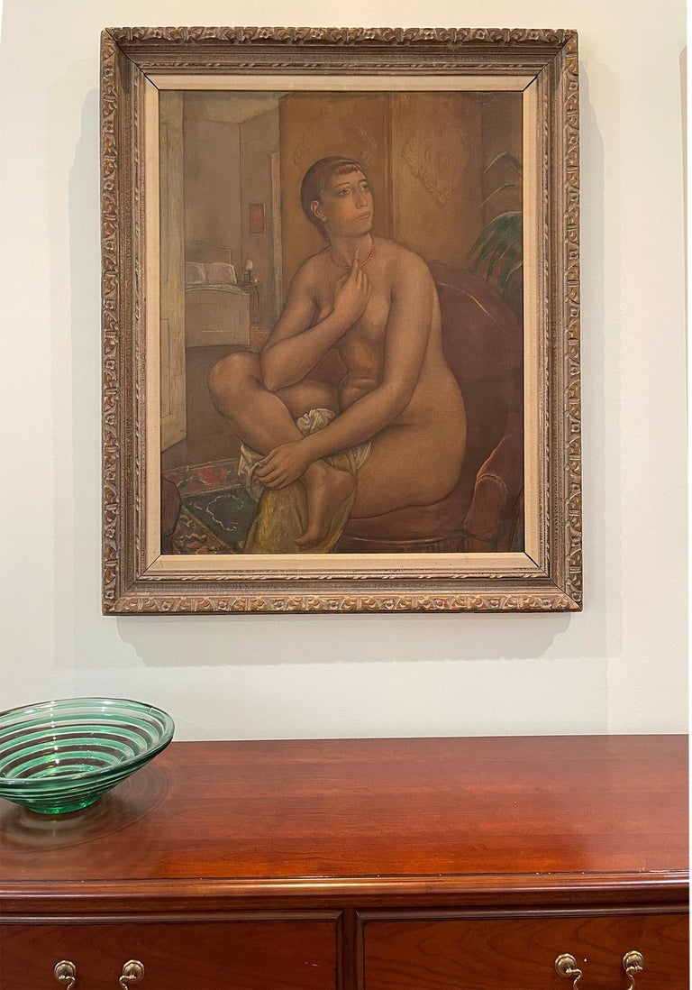 The Coral Necklace  Figure Composition - ( Nude fantasizing in a chair )  - American Realist Painting by Kenneth Hayes Miller