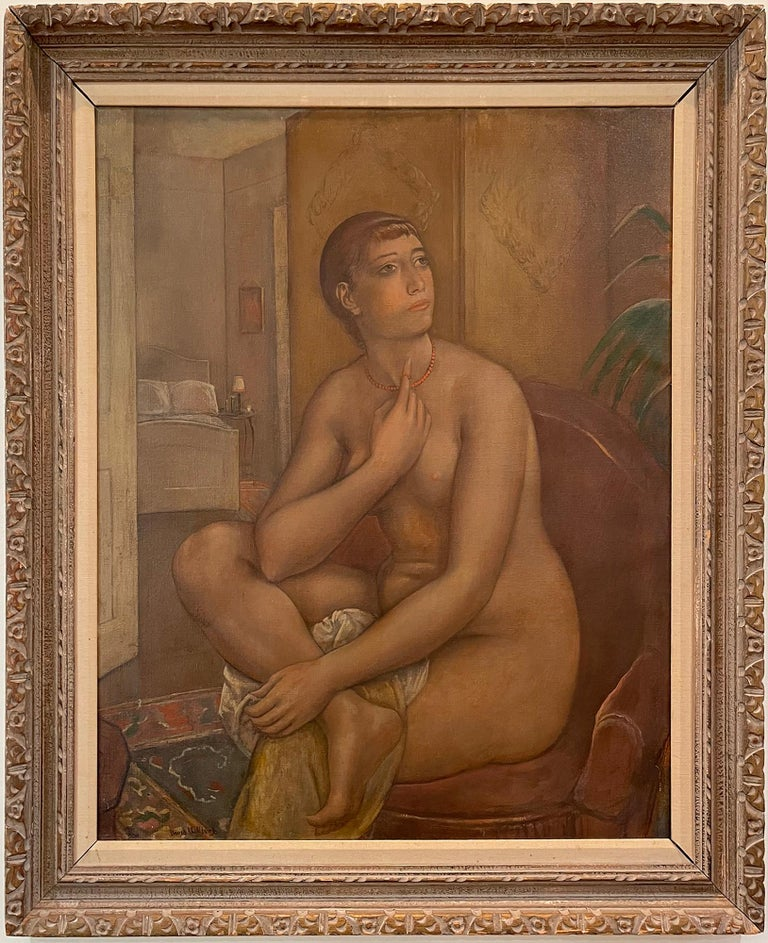 Kenneth Hayes Miller Nude Painting - The Coral Necklace  Figure Composition - ( Nude fantasizing in a chair )