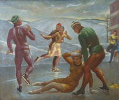 """The Skaters"" WPA American Winter Scene Mid-Century Modernism Figure Skating"