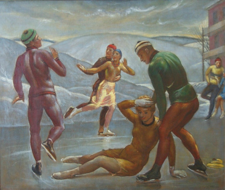 """Kenneth Hayes Miller Landscape Painting - """"The Skaters"""" WPA American Winter Scene Mid-Century Modernism Figure Skating"""