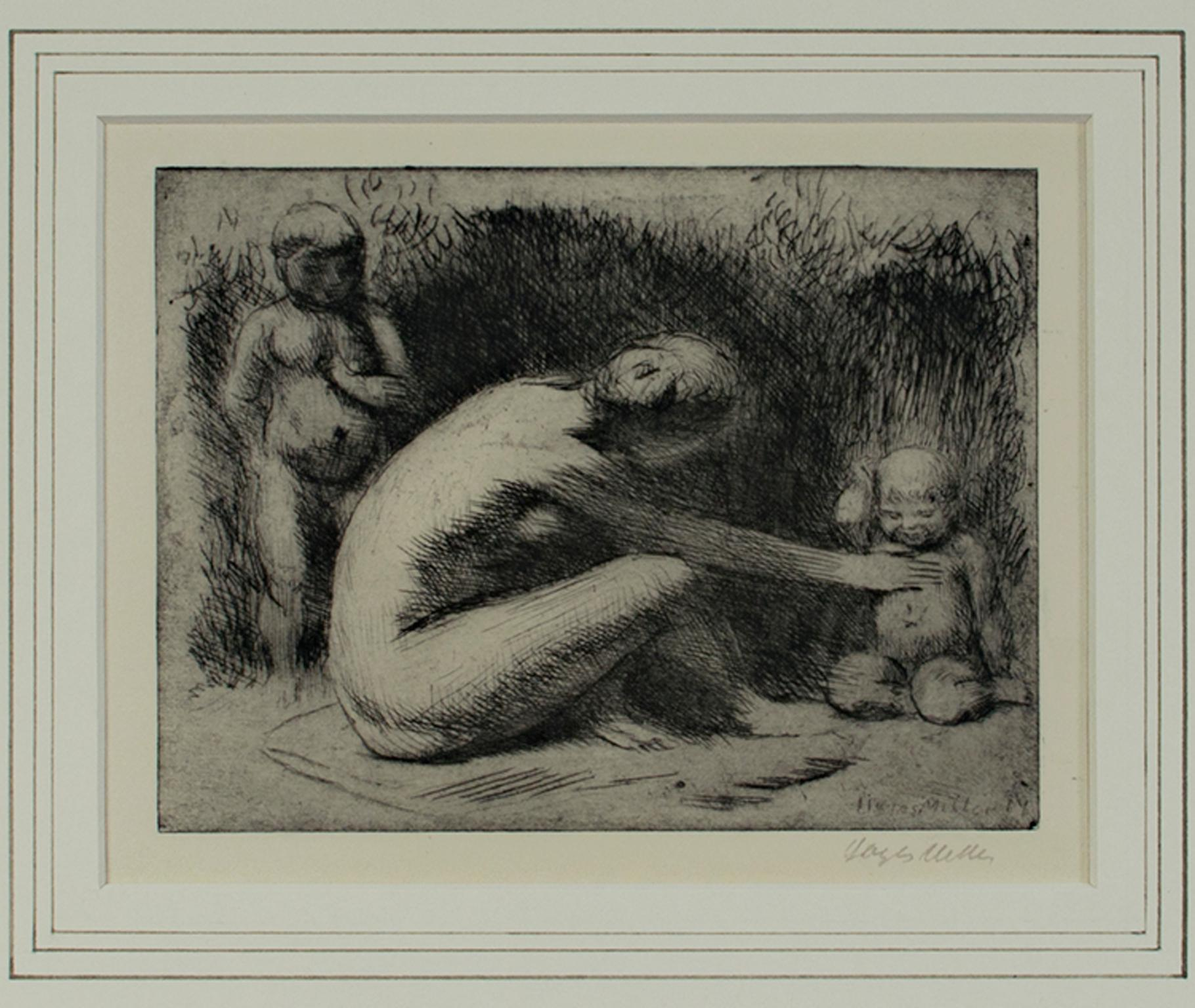 """""""Play,"""" Figurative Etching Nude with Children signed by Kenneth Hayes Miller"""