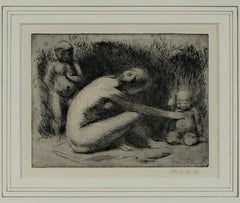 """Play,"" Figurative Etching Nude with Children signed by Kenneth Hayes Miller"