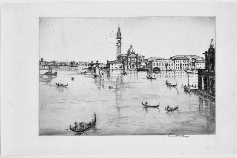 San Giorgio, Maggiore, Venice.  - Beige Landscape Print by Kenneth Holmes, A.R.C.A.