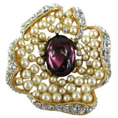 Kenneth J Lane  KLJ Purple Cabochon Pearl Rhinestone Enhancer-Brooch Pin- 1990s