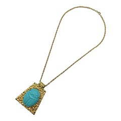 Kenneth Jay Lane 1970 / 1980s Egyptian Revival Turquoise Scarab Pendant Necklace