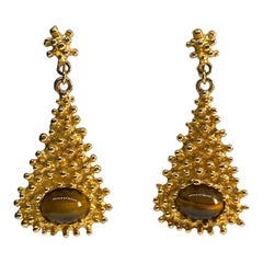 Kenneth Jay Lane 1970s Gold Nugget & Tiger Eye Pendant Earrings