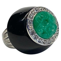 Kenneth Jay Lane 1980s Art Deco Black & Green Dome Ring