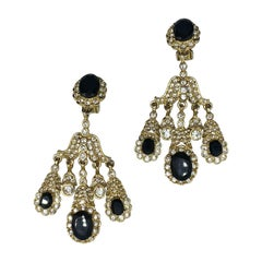 Kenneth Jay Lane 1980s Gold & Rhinestone Girandole Chandelier Earrings