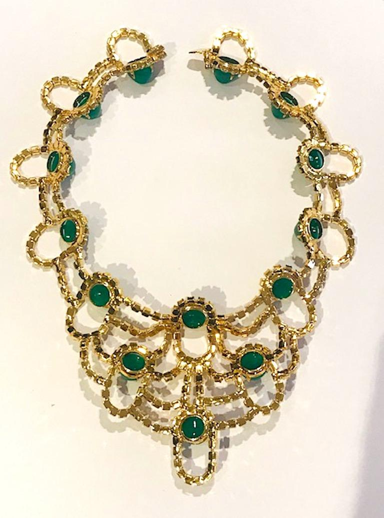 Kenneth Jay Lane 1980s Rhinestone & Green Cabochon Necklace For Sale 7
