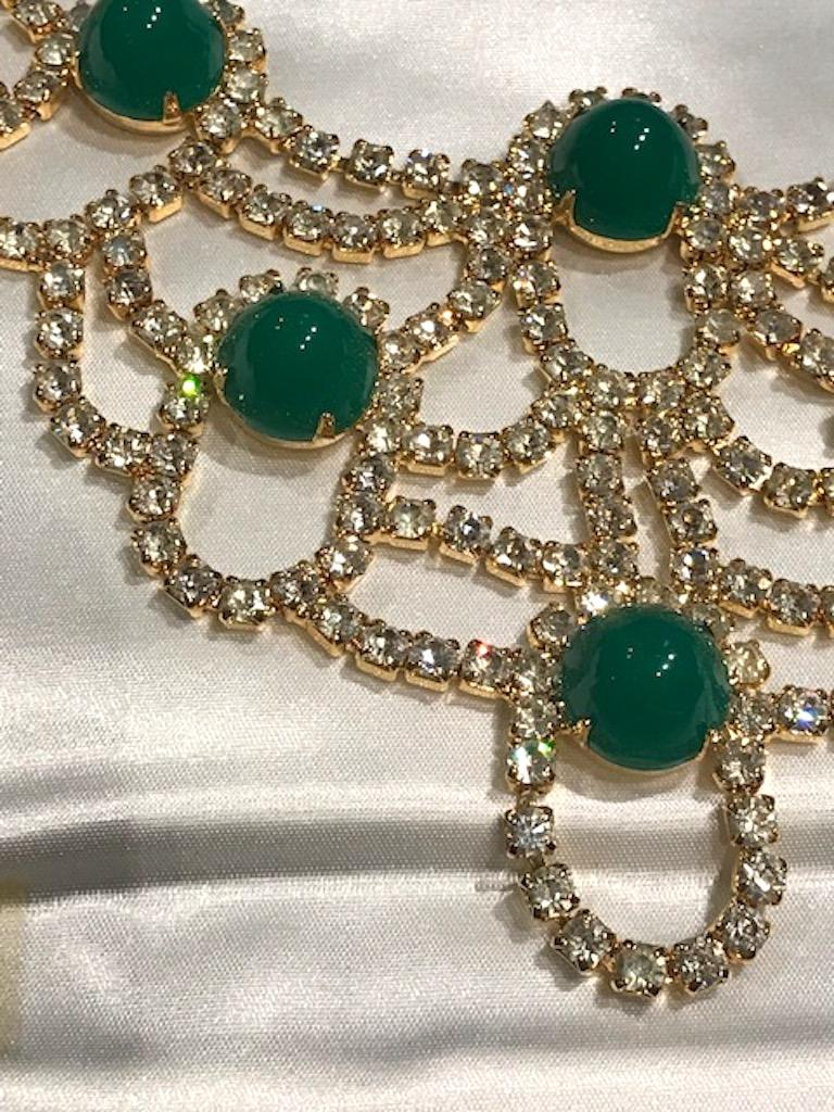 Women's Kenneth Jay Lane 1980s Rhinestone & Green Cabochon Necklace For Sale