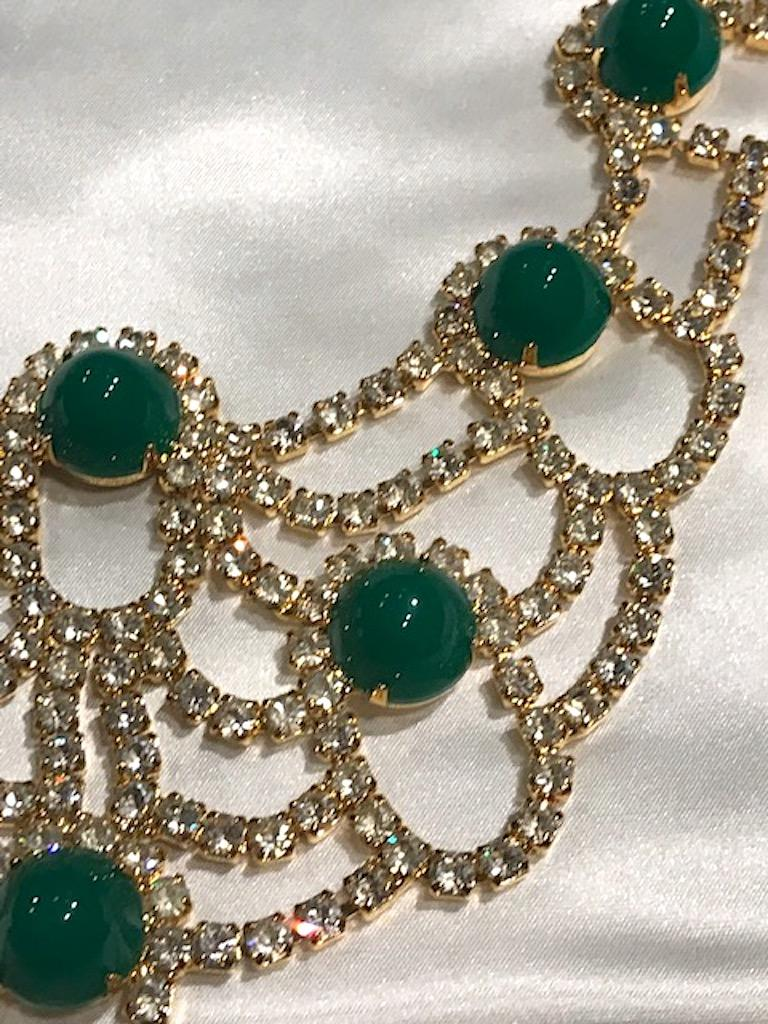 Kenneth Jay Lane 1980s Rhinestone & Green Cabochon Necklace For Sale 1