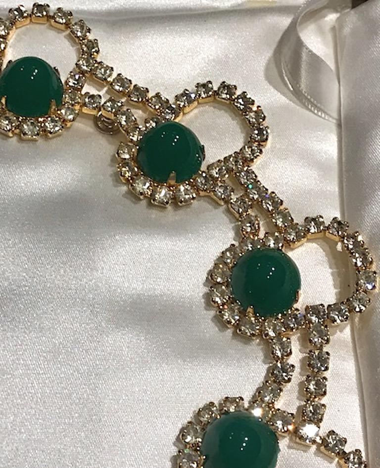 Kenneth Jay Lane 1980s Rhinestone & Green Cabochon Necklace For Sale 2