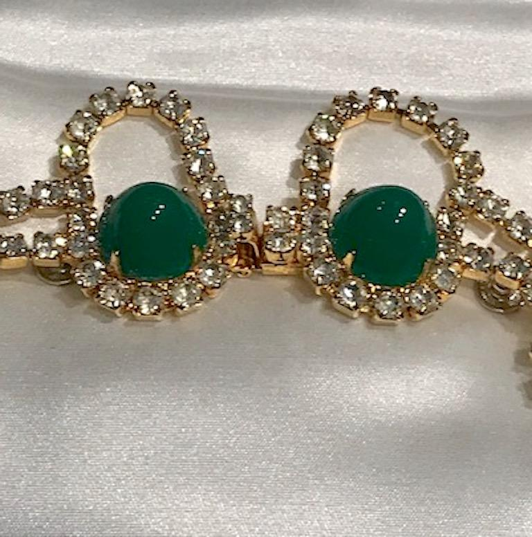 Kenneth Jay Lane 1980s Rhinestone & Green Cabochon Necklace For Sale 3
