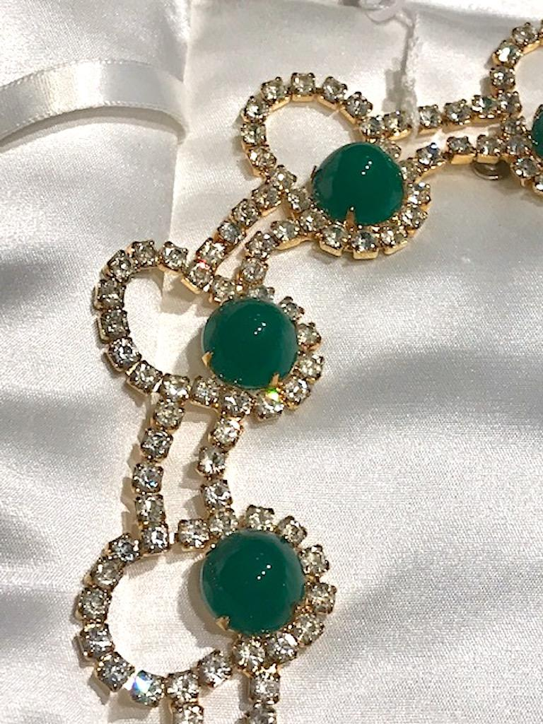 Kenneth Jay Lane 1980s Rhinestone & Green Cabochon Necklace For Sale 4