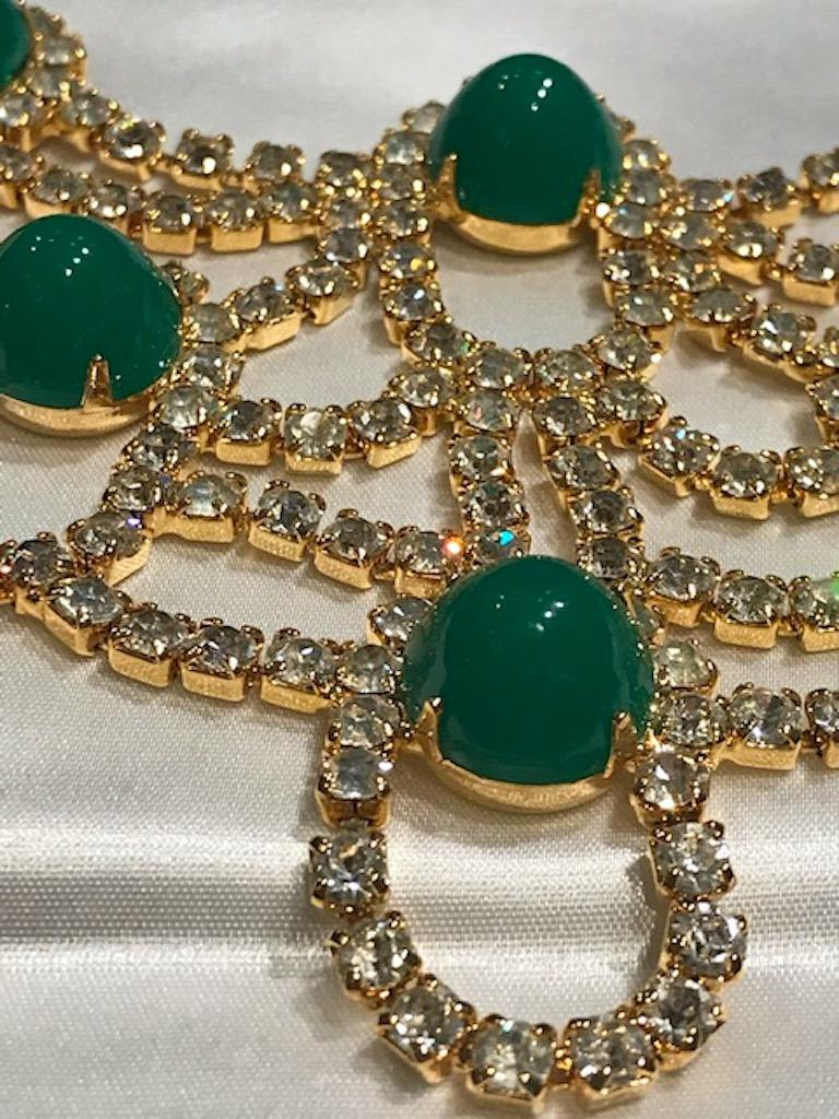 Kenneth Jay Lane 1980s Rhinestone & Green Cabochon Necklace For Sale 5