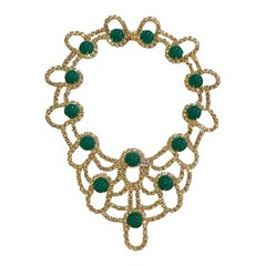 Kenneth Jay Lane 1980s Rhinestone & Green Cabochon Necklace
