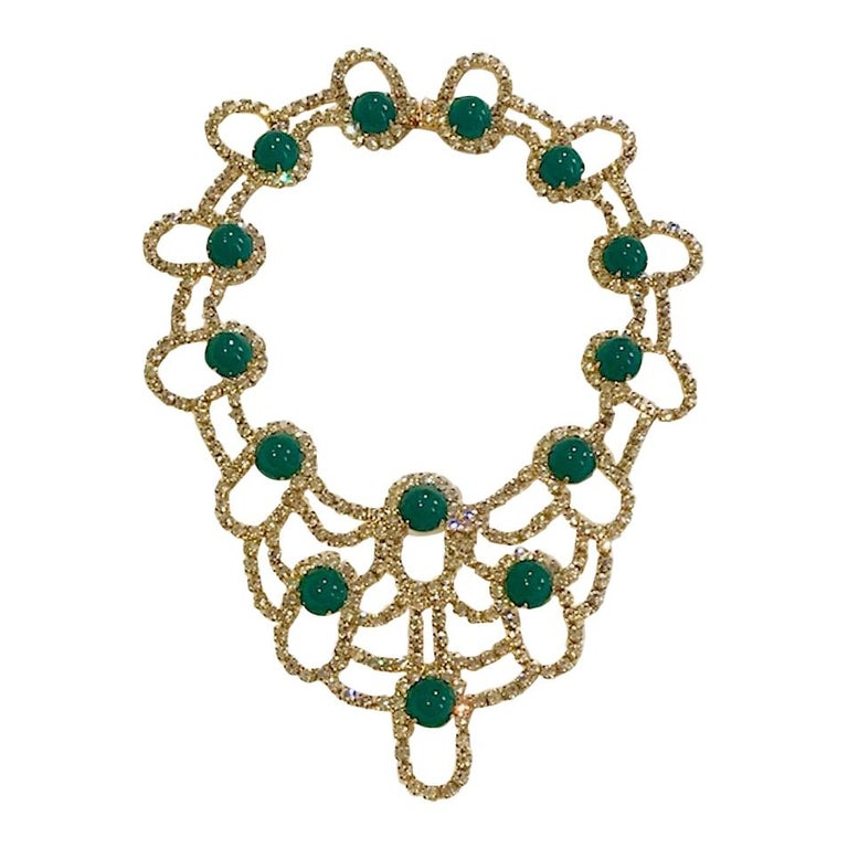 Kenneth Jay Lane 1980s Rhinestone & Green Cabochon Necklace For Sale