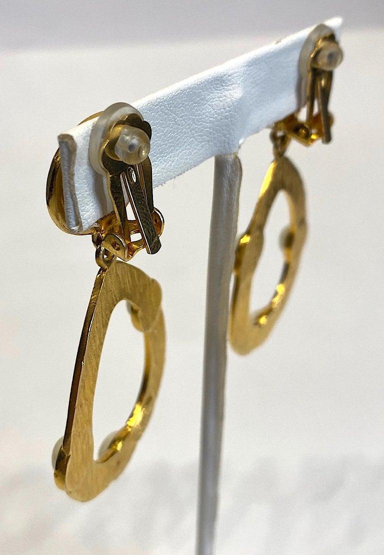 Kenneth Jay Lane 1980s Satin Gold Hoop Pendant earrings For Sale 1