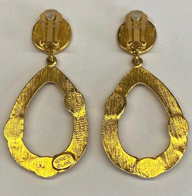 Kenneth Jay Lane 1980s Satin Gold Hoop Pendant earrings For Sale 4