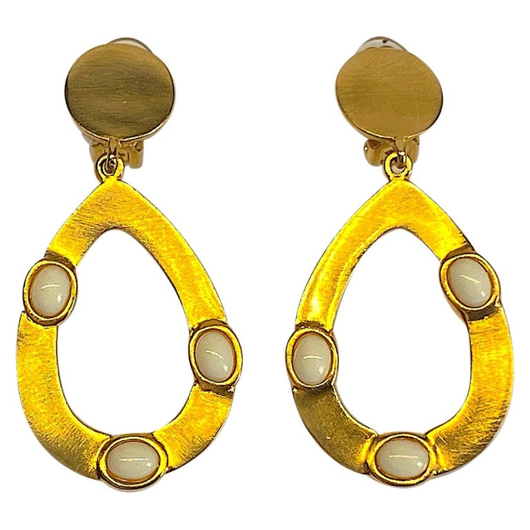 Kenneth Jay Lane 1980s Satin Gold Hoop Pendant earrings For Sale