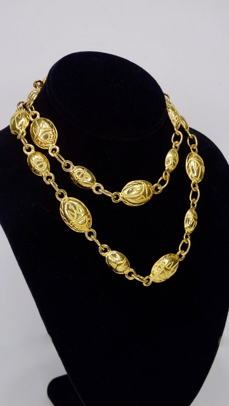 Kenneth Jay Lane 1980s Scarab Beetle Necklace In Good Condition For Sale In Scottsdale, AZ