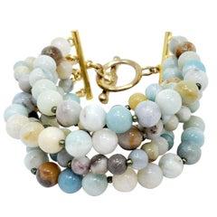 Kenneth Jay Lane Amazonite Bead Bracelet with Golden Accents, Multi Strand, KJL