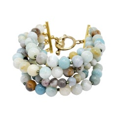 Kenneth Jay Lane Amazonite Bead Bracelet with Golden Accents, Multi Strand, KJL