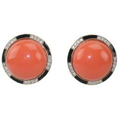 Kenneth Jay Lane Art Deco Faux Coral Enamel & Rhinestone Earrings