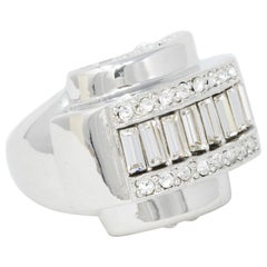 Kenneth Jay Lane Art Deco Polished Silver With Baguette Crystal Cocktail Ring