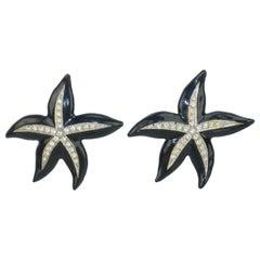 Kenneth Jay Lane Black Enamel & Rhinestone Starfish Earrings