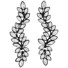 Kenneth Jay Lane Black Plated Flower Crystal Dangle Clip On Earrings, KJL