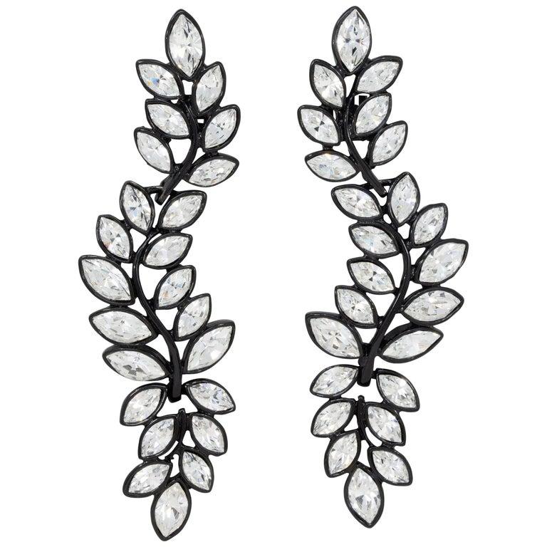 Kenneth Jay Lane Black Plated Flower Crystal Dangle Clip On Earrings, KJL For Sale
