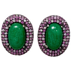 Kenneth Jay Lane CZ KJL Green Cabochon and Rose Cubic Zirconia Clip on Earrings