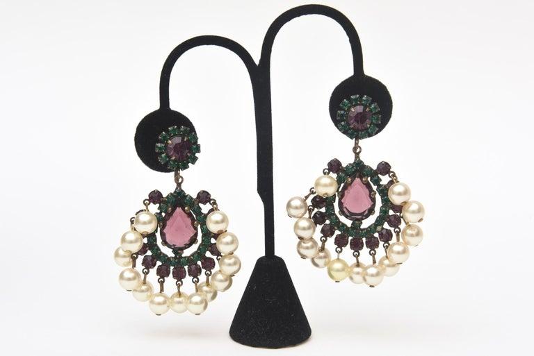 Modern Kenneth Jay Lane Dangle Chandelier Clip On Pair of Earrings Vintage For Sale