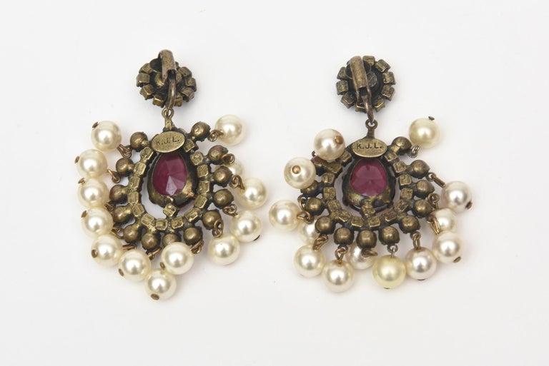 Women's Kenneth Jay Lane Dangle Chandelier Clip On Pair of Earrings Vintage For Sale