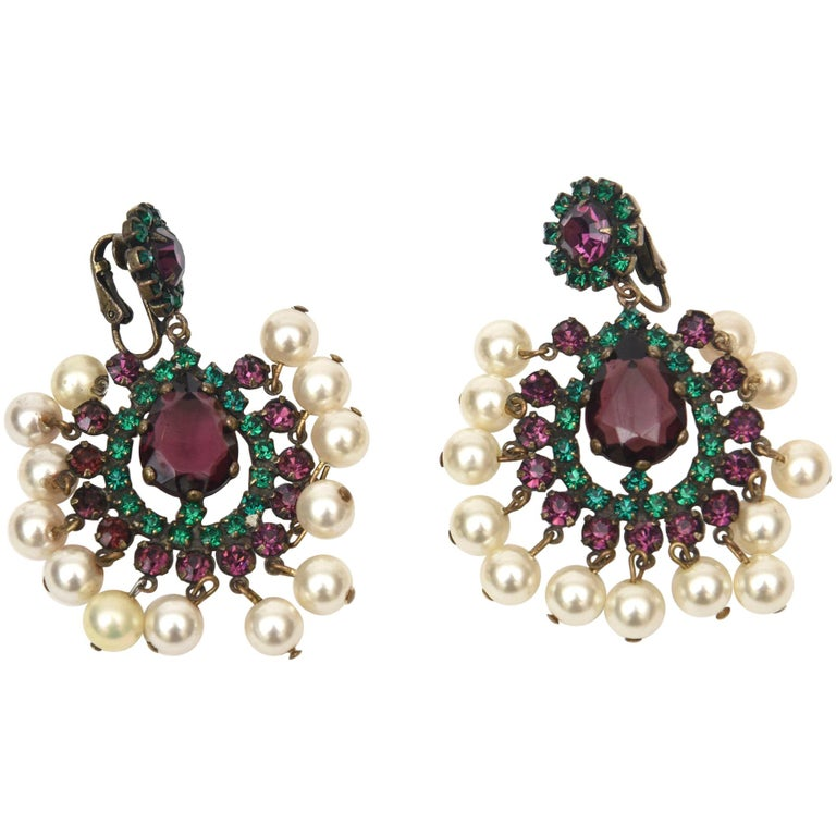 Kenneth Jay Lane Dangle Chandelier Clip On Pair of Earrings Vintage For Sale