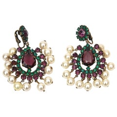Kenneth Jay Lane Dangle Chandelier Clip On Pair of Earrings Vintage