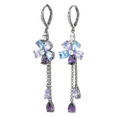 Kenneth Jay Lane Drop Amethyst Aquamarine Cubic Zirconia Flower Dangle Earrings