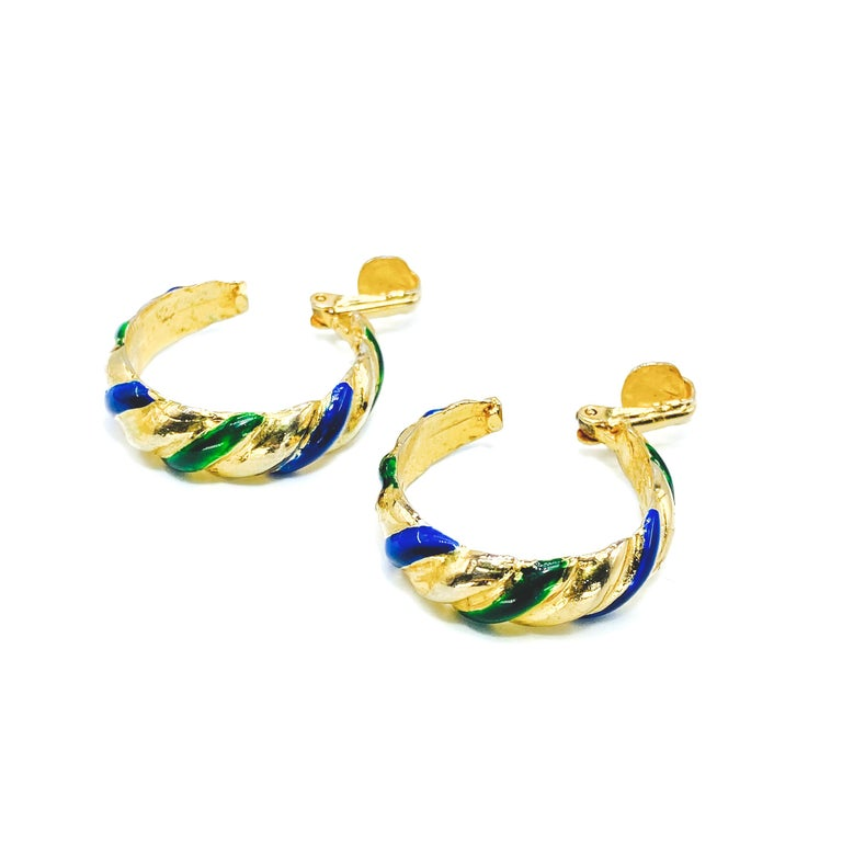 KENNETH JAY LANE Earrings Vintage 1980s Clip Ons In Good Condition For Sale In London, GB