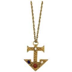 Kenneth Jay Lane Embellished Anchor Pendant Necklace