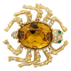 Kenneth Jay Lane Gold Amber Spider Pin Brooch, Accented with Crystals, KJL