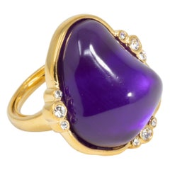 Kenneth Jay Lane Gold Amethyst Cabochon Cocktail Ring, Modern