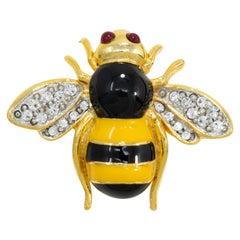 Kenneth Jay Lane Gold Bee Pin Brooch, Black & Yellow Enamel, Crystals, KJL